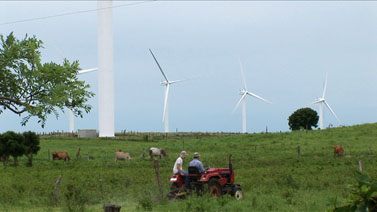 Tractor and wind farm
